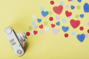 photo camera with hearts