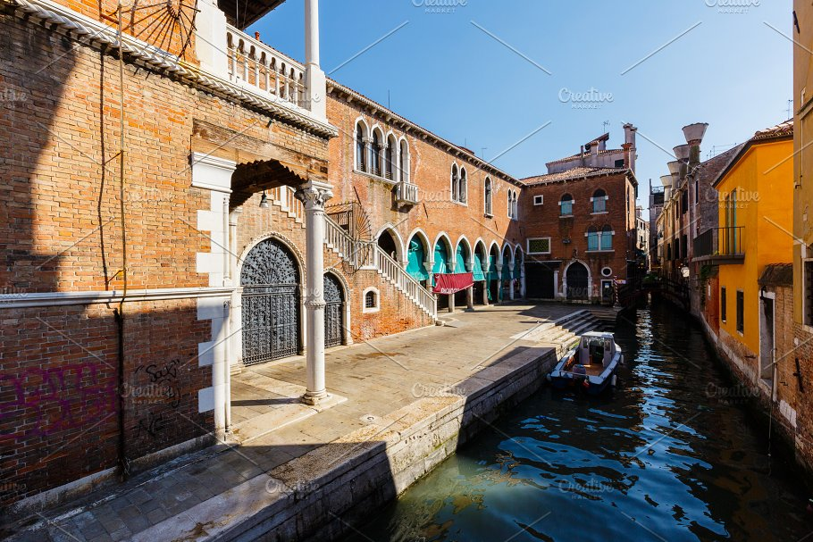 Typical View Of Boats On The Canal Near Largest Fish Market Venice