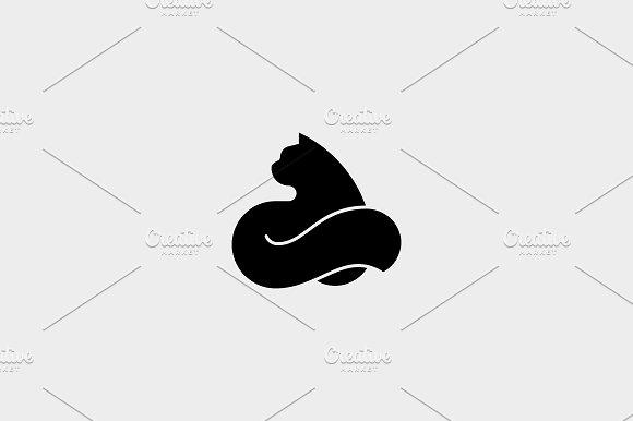 Cat Logo Design Pet Vector Logotype