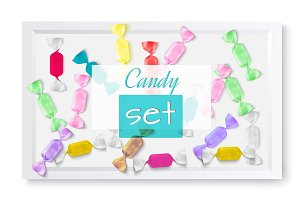 Color candies in white box