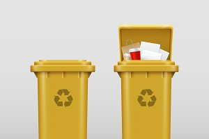 Yellow recycle bins