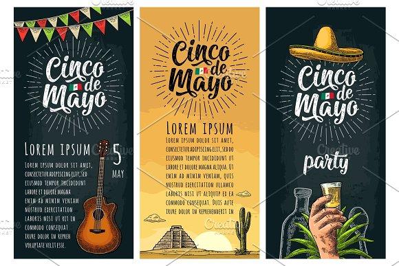 Three Vertical Poster For Cinco De Mayo