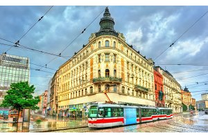 City tram in the old town of Brno, Czech Republic