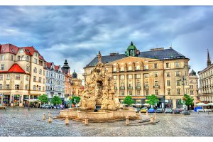 Parnas Fountain on Zerny trh square in the old town of Brno, Czech Republic