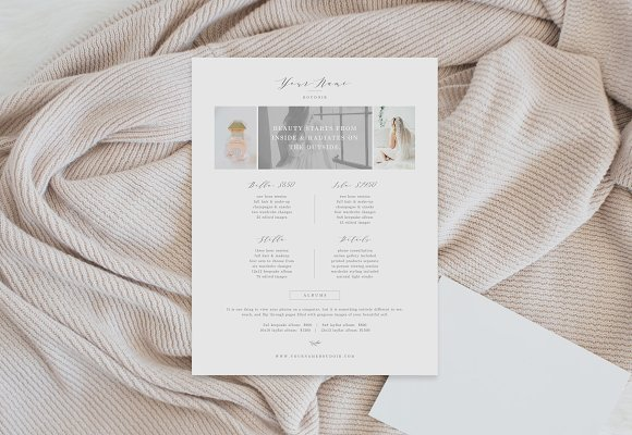 Photographer Pricing Sheet Template
