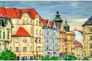 Buildings in the old town of Brno, Czech Republic