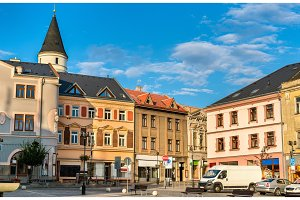 Buildings in the old town of Prerov, Czech Republic
