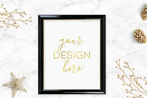 Black and Gold Objects Frame Mockup