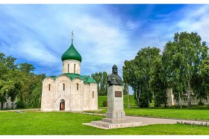 Transfiguration Cathedral and Monument to Alexander Nevsky in Kremlin, Pereslavl-Zalessky, Russia