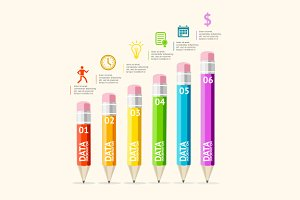 Vector pencils infografics