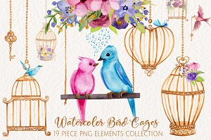 Watercolor Love Birds and Cages