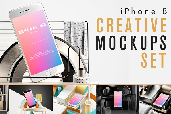 Product Mockups: As Good As Possible - iPhone 8 Creative Mockups Set