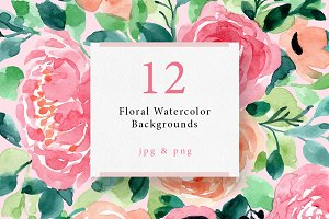 12 Floral Watercolor Backgrounds