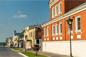 Traditional houses on Ivan Lazhechnikov street in Kolomna, Russia