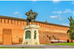 Equestrian monument to Dmitry Donskoy in Kolomna, Moscow Region, Russia