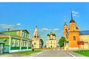 The ensemble of the Cathedral Square at Kolomna Kremlin, Russia