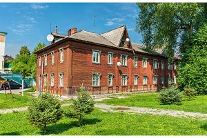 Old wooden house in the city centre of Ryazan, Russia