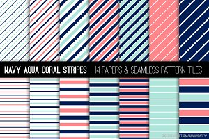 Navy Aqua Coral Stripes