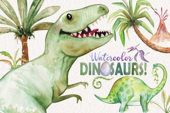 Watercolor Dinosaurs Elements