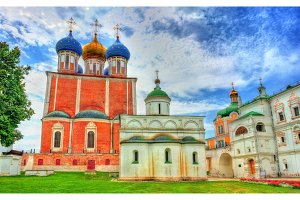 Cathedrals of Assumption and of St. Michael the Archangel. Ryazan Kremlin, Russia