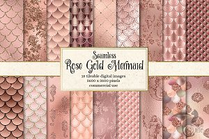 Rose Gold Mermaid Digital Paper