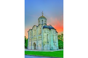Saint Demetrius Cathedral in Vladimir. Built in the 12th century, it is a UNESCO world heritage site in Russia
