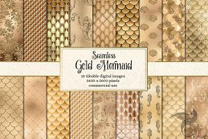 Gold Mermaid Digital Paper