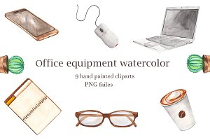 Office equipment watercolor.