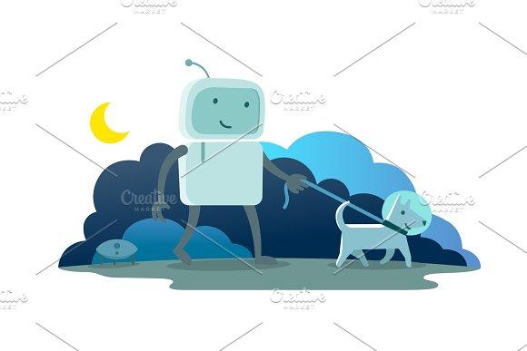 Robot character astronaut man walk night moon evening with dog on a leash. Dog runs ahead. Flat color vector illustration