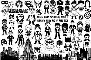 Kids Superhero SilhouettesAI EPS PNG