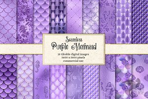 Purple Mermaid Digital Paper