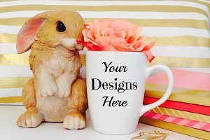 Mug Mockup with Easter Bunny