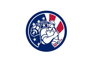 American Cable Installer USA Flag Ic