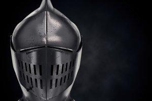 Illustration of Medieval Knight Armet Helmet