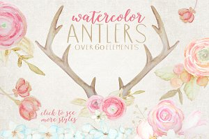 Rustic Watercolor Antlers & Flowers