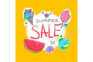 Summer Sale calligraphy with watermelon, donut, ice-cream, cocktail and candyfloss. Vector illustration.