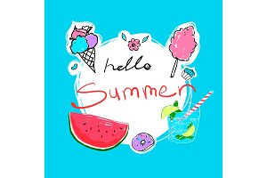 Hello Summer calligraphy with watermelon, donut, ice-cream, cocktail and candyfloss. Vector illustration.