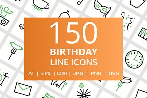 150 Birthday Line Icons