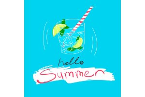 Cold cocktail with ice and lime, text Hello Summer. Vector colorful food illustration and lettering on a blue backround.