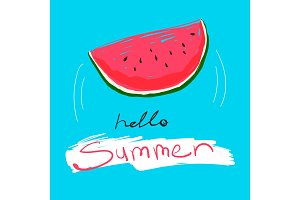 Tasty watermelon with text Hello Summer. Vector colorful food illustration and lettering on a blue backround.