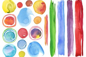 Collection of watercolor elements