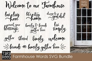 Farmhouse Style Words SVG Bundle