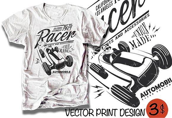Vector Retro Racing Car Illustration