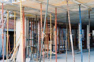 Struts in building structure under construction