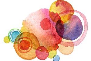 Abstract circle watercolor paint