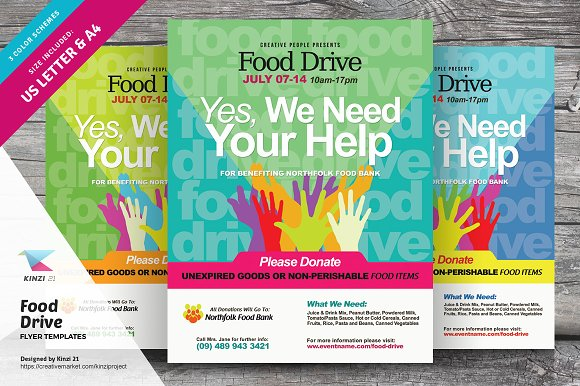 Food Drive Flyer Templates Creative Photoshop Templates Creative Market
