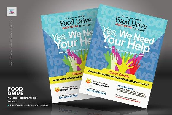 Food Drive Flyer Templates Creative Market