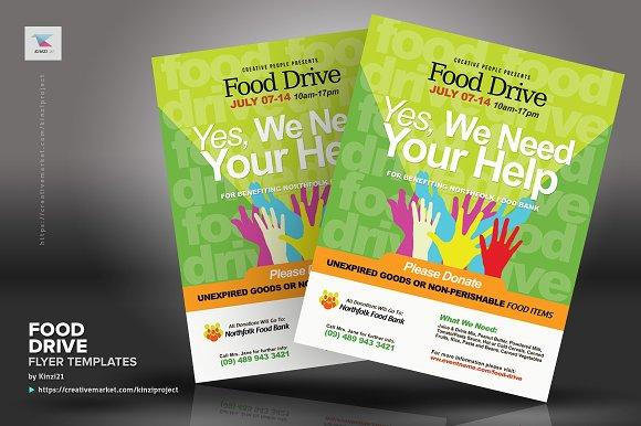 Food Drive Flyer Templates Flyer Templates Creative Market