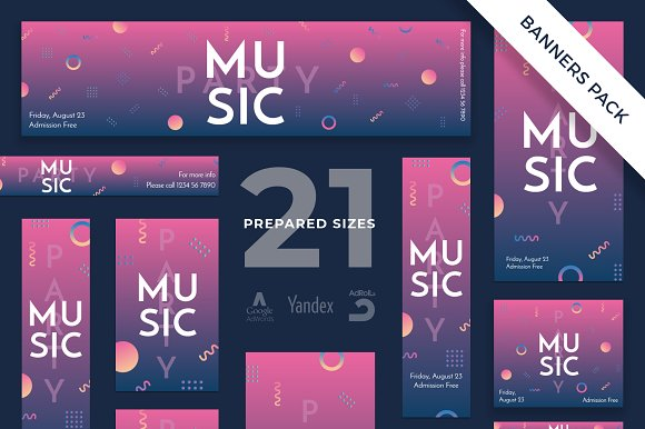Banners Pack Music Party