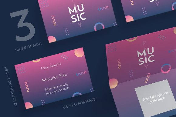 Business Cards Music Party